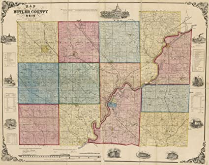 Amazon.com: Vintage 1874 Map of New county and rail road map ...