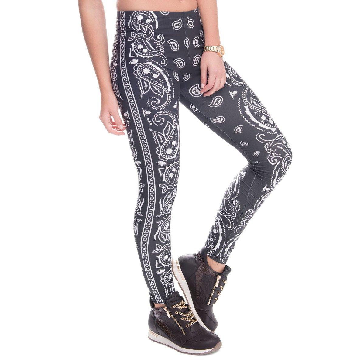 DRESHOW Digital Printed Women's Full-Length Yoga Workout Leggings Thin Capris PA0002-10