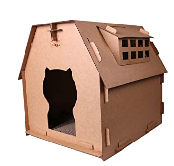 Amazon Com Toparchery Cat Cardboard House Cardboard Diy Assembled