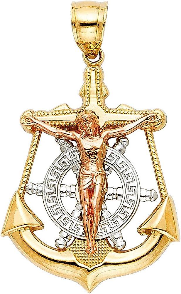 14k Tri Color Gold Religious Pendant Charm