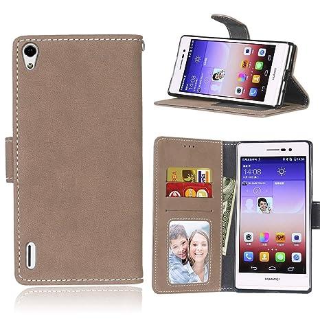 pinlu Funda Para Huawei Ascend P7 Alta Calidad Función de plegado Flip Wallet Case Cover Carcasa Piel Retro Scrub PU Billetera Soporte Con Ranuras ...