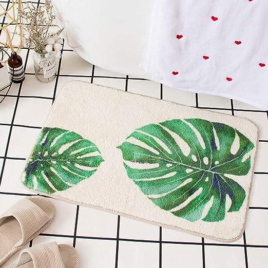 Hand Drawn Tropical Leaves Palm Leaf Bath Mat Rug Non-Slip Bathroom Decor Carpet