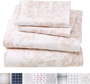 Great Bay Home Extra Soft Toile 100% Turkish Cotton Flannel Sheet Set. Warm, Cozy, Luxury Winter Bed Sheets. Belle Collection (Queen, Blush Pink)