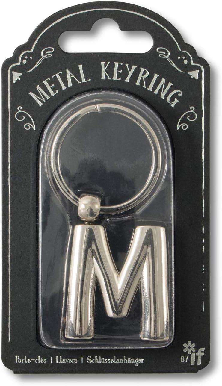 Silver M Porte-cl/és 7 Centimeters Argent/é if Metal Letter Keyring Personalised Alphabet Letters Silver