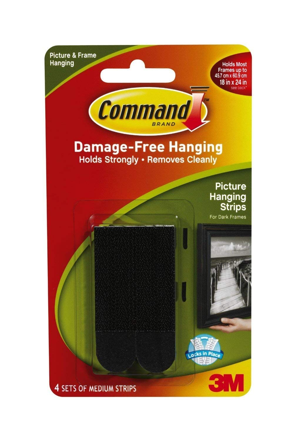 Command Picture Hanging Strips, 3/4'' x 2 3/4'', Black (Pack of 36) by Generic