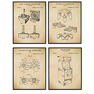 Video Game Patent Art Prints - Vintage Wall Art Poster Set - Chic Rustic Home Decor for Game Room, Rec Room, Man Cave, Play Room, Den - Gift for Gamers, Atari, Nintendo, PS1 Fans - 8x10 Photo Unframed