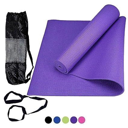 ROMIX Esterilla de Yoga Gruesa, 6mm Alfombras de Reversible Ecologica, 183cm No tóxico Colchoneta para Deporte Fitness Ejercicios, Gimnasio, Pilates ...