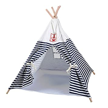 CocoGo Navy Stripe Style Pet House Teepee Washable Durable Foldable Small Dog and Cat Tent (  sc 1 st  Amazon.com & Amazon.com : CocoGo Navy Stripe Style Pet House Teepee Washable ...