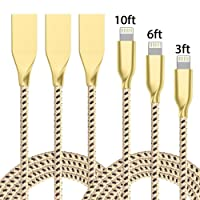 Vanzon Lightning Cable,3Pack 3FT 6FT 10FT Nylon Braided Cord Metal Shell iPhone Cable Certified to USB Charging Charger for iPhone 7/7 Plus/6/6 Plus/6S/6S Plus,SE/5S/5,iPad,iPod Nano 7 (Gold Black)