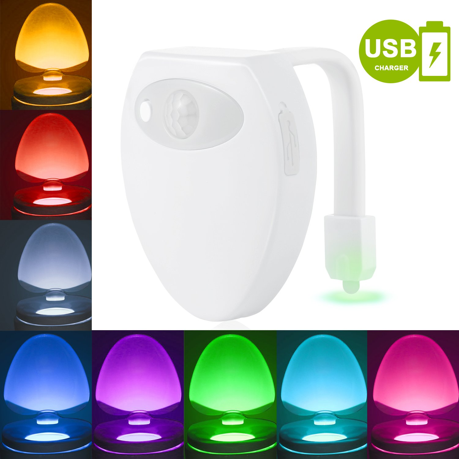 Cynkie Rechargeable Toilet Night Light with Waterproof Design, LED Toilet Night Light, Toilet Bowl Light, Motion Activated in Darkness Only