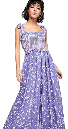 84a13fead47d Amazon.com  Free People Color My World Jumpsuit Perriwinkle Combo (M)   Clothing