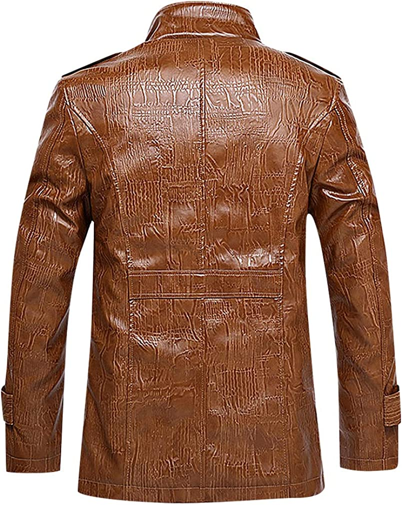 Mancave Men Textured Button Up Stand Collar Fleece Fur Inlay Faux Leather Jacket
