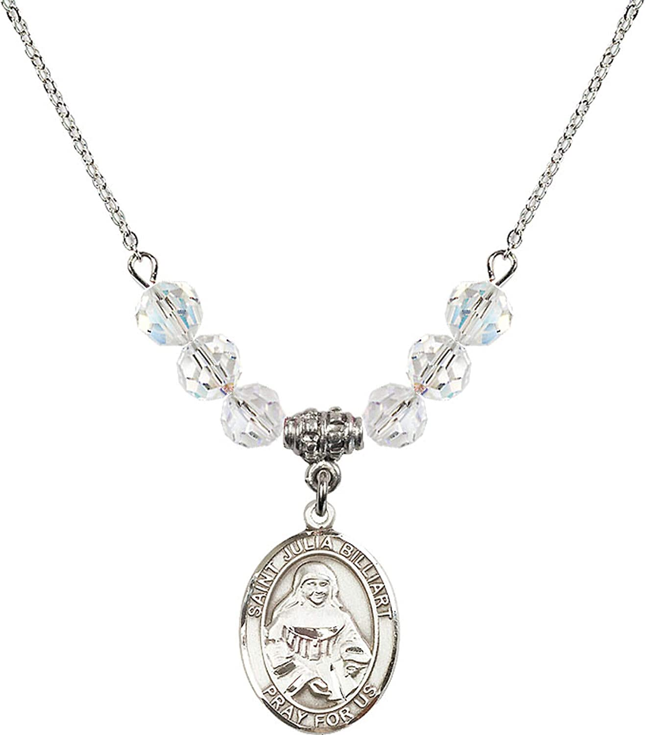 Bonyak Jewelry 18 Inch Rhodium Plated Necklace w// 6mm White April Birth Month Stone Beads and Saint Julia Billiart Charm
