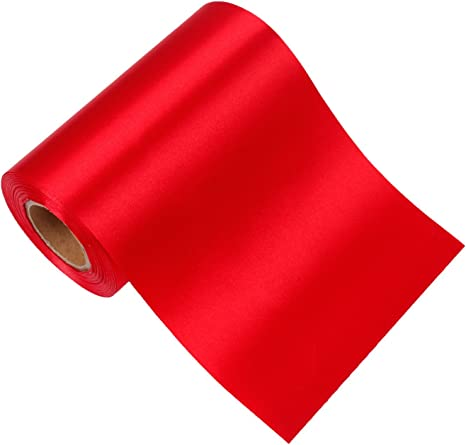 """12/"""" Wide Red Ceremonial Ribbon for Grand Opening Ceremony 10 Yard Roll"""