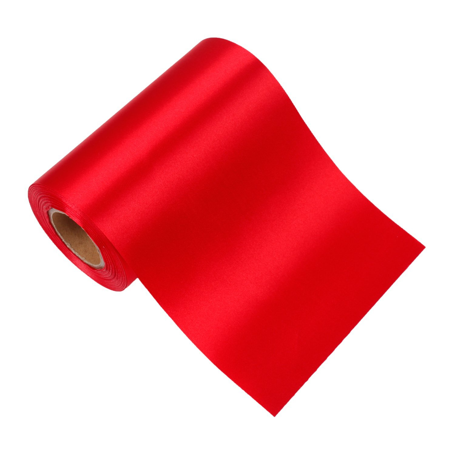 LaRibbons 6 inch Wide Grand Opening Ceremony Satin Ribbon, Wedding Party Decoration Craft Ribbon, Also for Making Car Bows - 25 Yard/spool (Red)