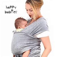 HAPPY BABIES Fular Portabebés de recién nacido Algodón CALIDAD PREMIUM 520 x 55 cm Suave cómodo Bolsa de tela incluida