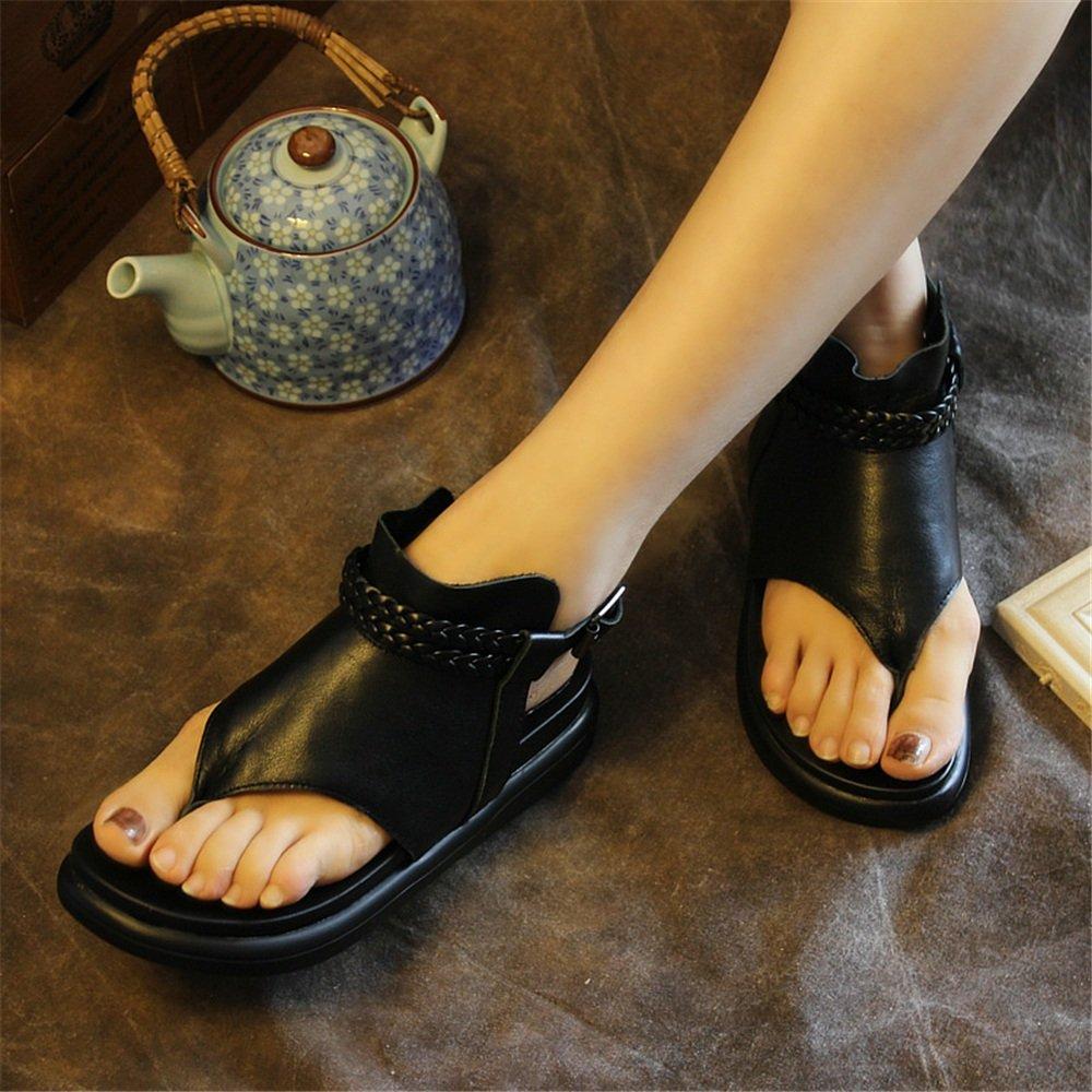 Herringbone : Flats Sandalen Roman Schuhes Lady (Farbe : Herringbone Schwarz, Größe : 37) Schwarz b44e2c