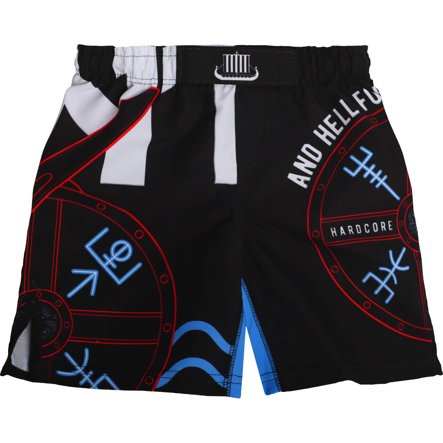 Hardcore Training Kids Boxing Shorts for Boy Norman - Fighting Fitness BJJ Active-10 Years Black/Blue