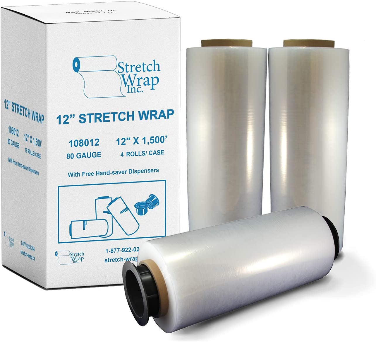 80 Gauge//20 Micron Thickness 1500ft Length Oknuu 1-Roll Pallet Wrap Stretch Wrap Film Plastic Clear 18 Inch Long