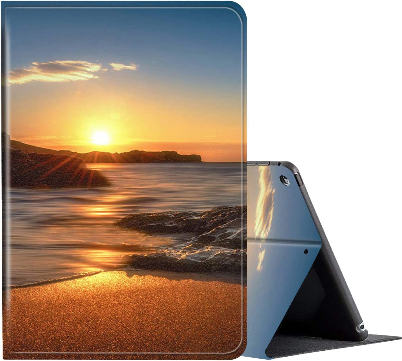 IPad 10.2 Inch 2019 Case, AMOOK PU Leather Adjustable Stand Cover Protection with Auto Wake/Sleep Smart Cover for Apple iPad 7th Gen-Sunrise Beach
