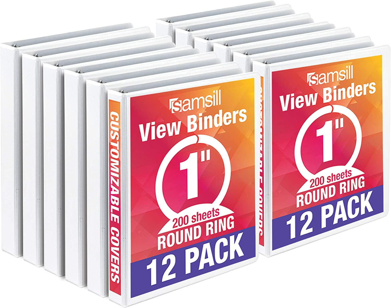 4 Pack PVC-Free // Non-Stick Customizable  Cover 1 Inch Round Ring Samsill Economy 3 Ring View Binder Red Holds 225 Sheets