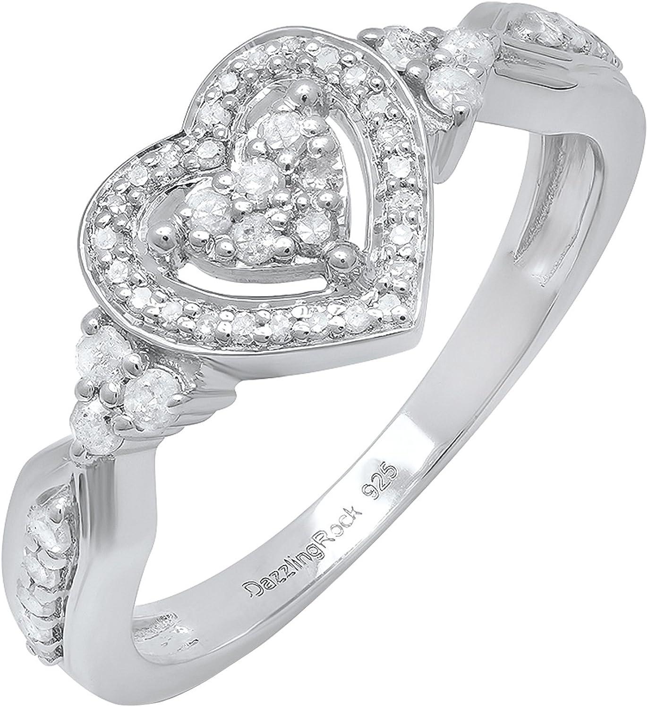 Dazzlingrock Collection 0.35 Carat (ctw) Round White Diamond Ladies Heart...