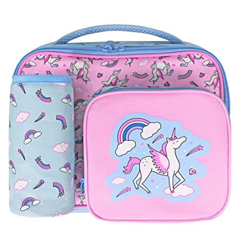 Kids Unicorn Lunch Bag for Girls and Water Bottle Set Lightweight and Perfect Unicorn Gift for Girls. Waterproof