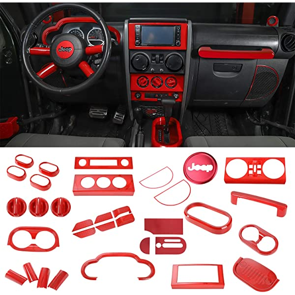 Red Rdash Dash Kit Decal Trim for Jeep Wrangler 2007-2010 Gloss