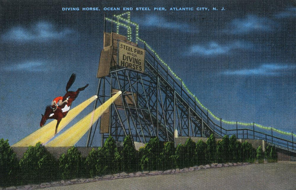 Atlantic City, New Jersey - Ocean End Steel Pier Diving Horse Scene (12x18 Art Print, Wall Decor Travel Poster)
