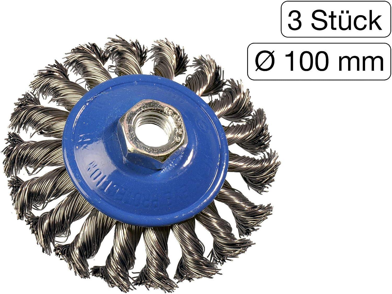Lot de 3/Brosse conique 100/mm M14/fil dacier gezopft pour meuleuse dangle Flex