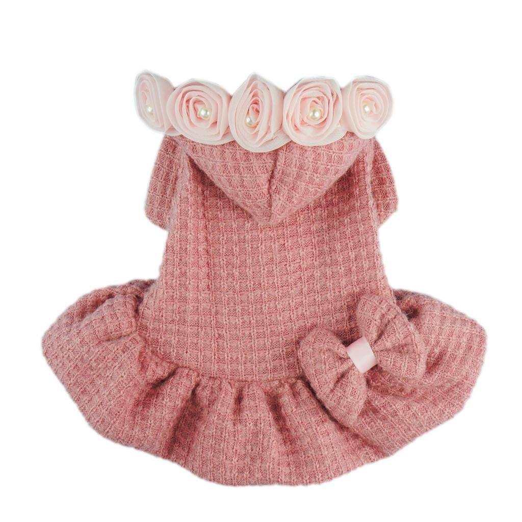 Fitwarm Adorable Bowknot Pink Dog Sweaters for Pet Hoodies Coats Dress Clothes Medium Petparty