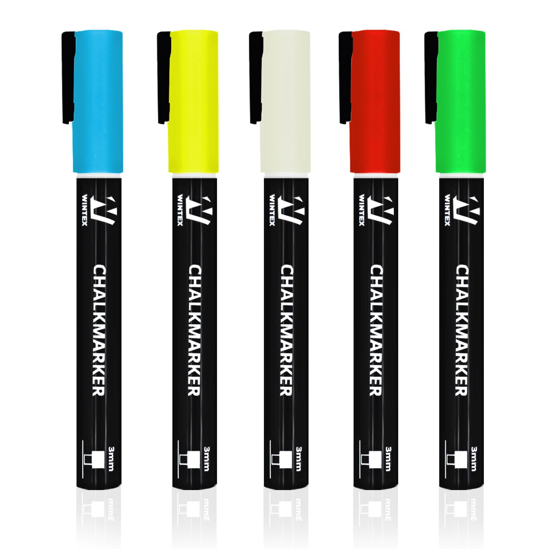 WINTEX 5 Pennarelli a gesso liquido colorati con punta tonda e fine da 3 mm, 2 anni di garanzia di soddisfazione, Pennarelli cancellabili, confezione da 5 colori eSpring GmbH