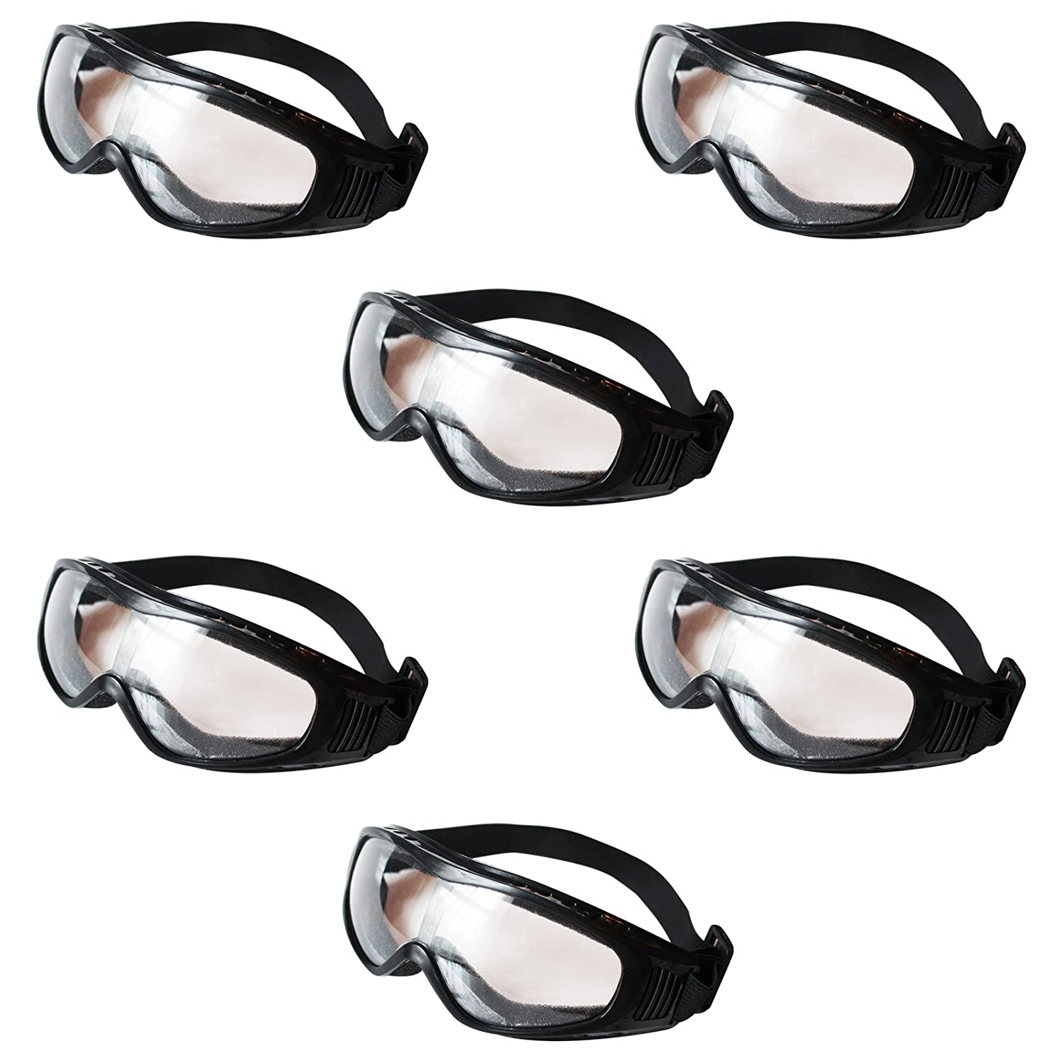 Kurtzy 6 Pack of Black Clear Lens Protective Safety Glasses Goggles by Bulk Set of Eyewear for Use in the Chemistry Lab, on Building Sites, with Chemicals and more - Padded Design for Comfort SO-9011