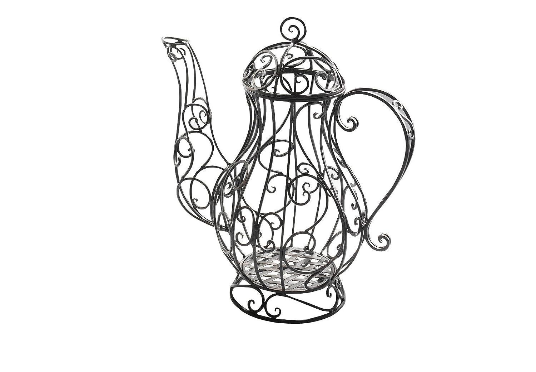 Kobolo Verspielte Deko-Kaffeekanne im nostalgischen Design aus schwarzem Metall zum Bepflanzen und Dekorieren