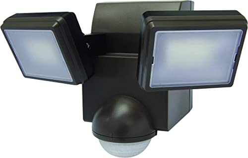 LB1870QBZ 700 Lumen Battery Operated LED Motion Security Light, Twin Head Includes L-Bracket for Ea