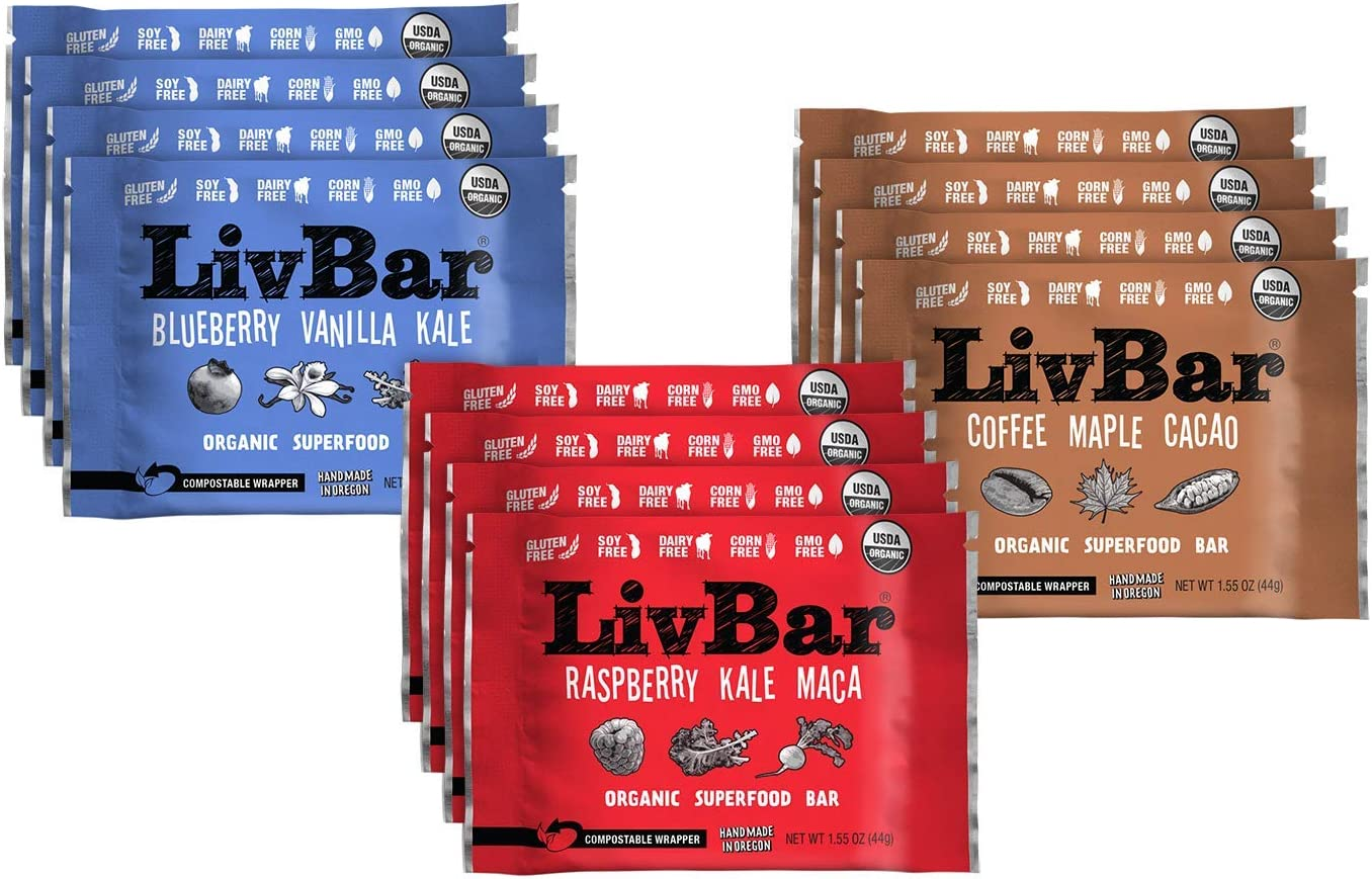 LivBar - Coffee Berry Variety Pack - Organic Superfood Nutrition Bar - USDA Certified - Non-GMO - Gluten Free, Peanut Free, Soy Free, Dairy Free, Protein Snack Bars with Compostable Wrapper - 12 Pack