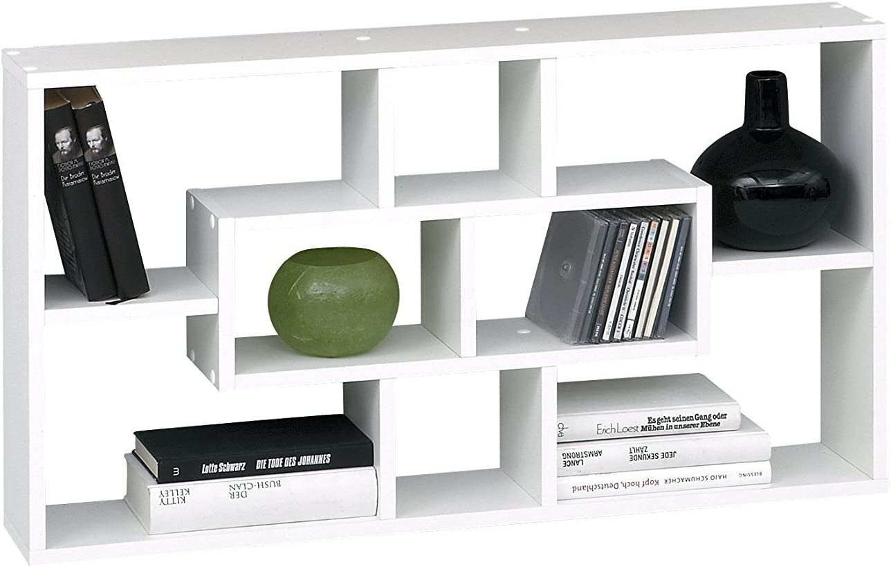 Lhs Premium Stylish White Wall Mounted Shelf Unit Rack For Cd Dvd Books Ornaments By Dmf Amazon Co Uk Kitchen Home