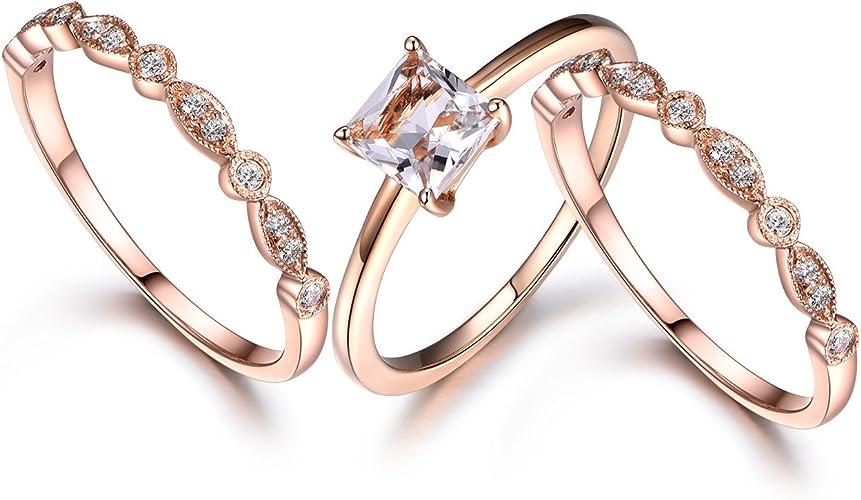 Morganite Halo Engagement Ring Set Unique Art Deco Morganite Wedding Promise Ring Set 14k Gold Milgrain Style Bridal Anniversary  Ring Set