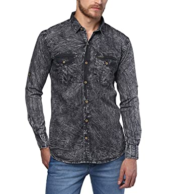 ee0448a2df Urbano Fashion Men s Denim Solid Charcoal Grey Casual Shirt (shirt -washden-cha-