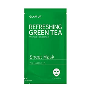 Sheet mask by glam up BTS Refreshing Green Tea - Revitalize Dull Skin. Dark Circle Fighter Nature made Freshly packed Daily Skin Therapy Original K-Beauty Recipe 1ea