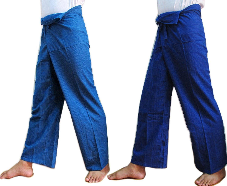 (DOUBLE) 2 x Striped Thai Fisherman Wrap Pants Trousers