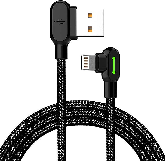 YiGooood Made for The Game Connecting Cable for Apple- 6 ft 1800mm Length 2A Current 90 Degree USB AM Reversible Cool Working Indicator Designed for Apple iPhone Ipad Charger (4336638644)