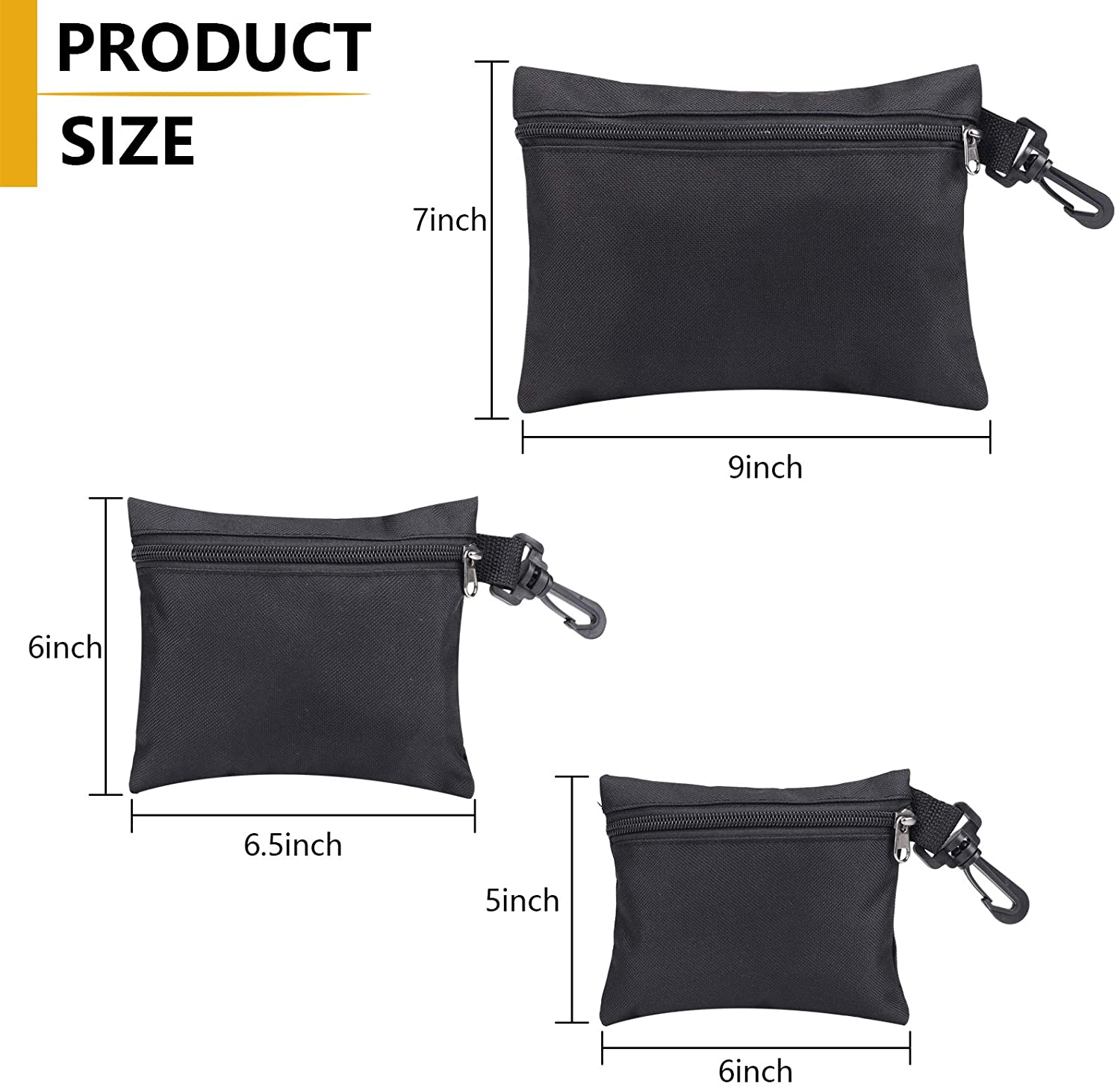 3 Pack Small Tool Bag Tool Pouch Organiser Storage Pouch Water Resistant Zipper Tool Pouch Bag Multi Purpose Tool Tote Bags Tool Box with Hanging Hook