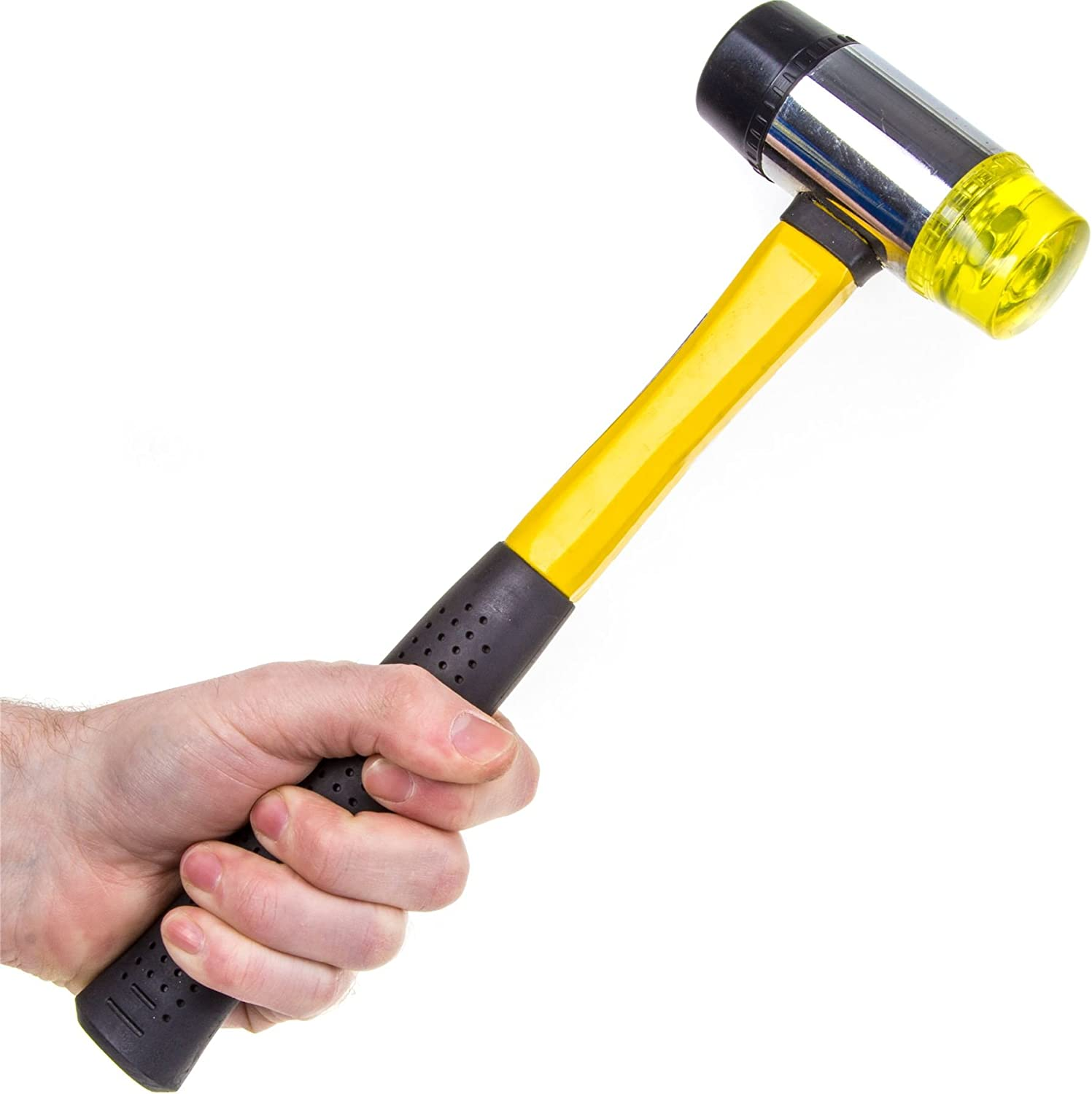Hilka Tools 60600045 45 mm Rubber and Plastic Mallet Black//Yellow-MALLET Hard