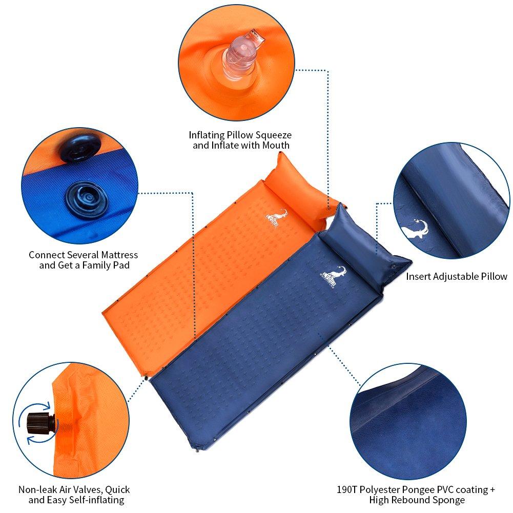 Azul Acampada Esterilla Acampada Autoinflable Colch/ón Impermeable y Aislante Camping Senderismo Dormir