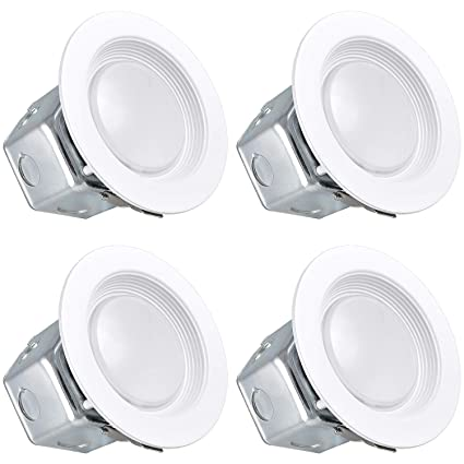 the best attitude 6a875 717c4 Luxrite 4 Inch LED Recessed Light with Junction Box, 10W, 4000K Cool White,  Dimmable Airtight Downlight, 780lm, Energy Star, IC & Wet Rated, 120V - ...