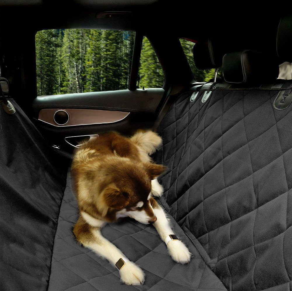 EUPETS Extra Large Luxury Dog Car Seat Cover With Anchors for Car, Truck and SUV,Thick Durable, Non-Slip Backing and Hammock Convertible, Pet Seat cover, Black
