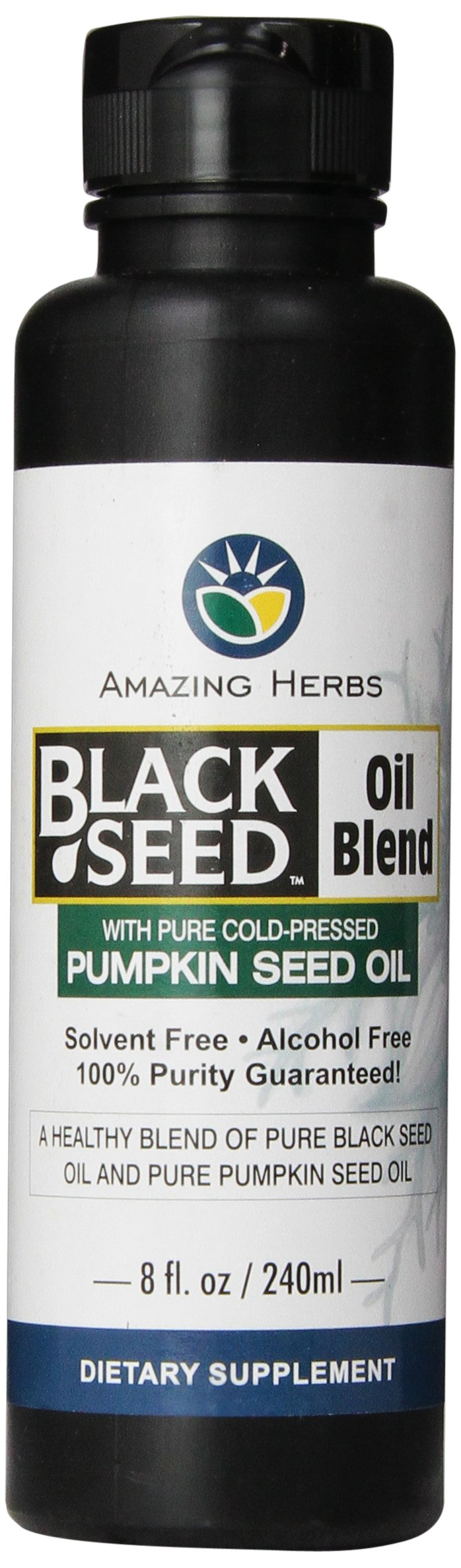 Amazing Herbs Black Seed and Pumpkin Seed Oil Blend, 8 Fluid Ounce