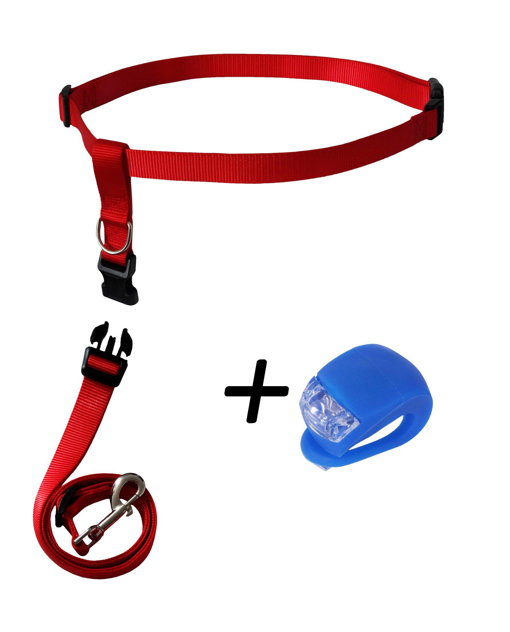 RoadRunner Running Dog Leash Hands Free Including LED Light. Great for Walking, Running, Biking and Jogging (Red). by RoadRunner