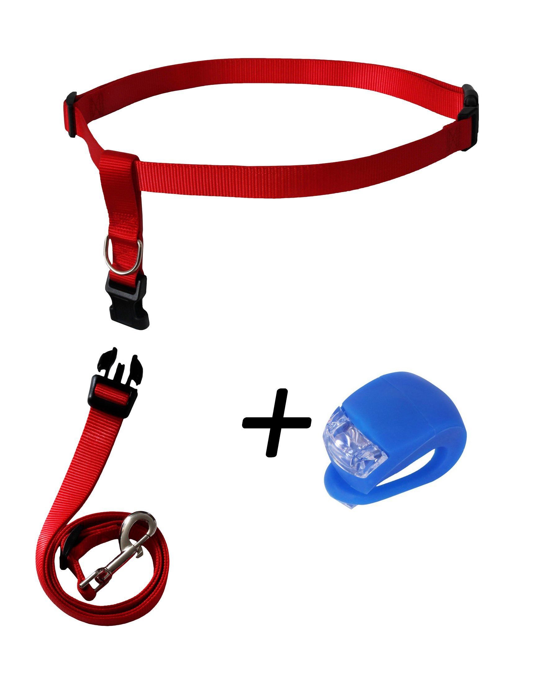 RoadRunner Running Dog Leash Hands Free Including LED Light. Great for Walking, Running, Biking and Jogging (Red).